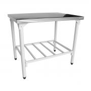 Mesa em Inox Innal 1,12x70 com Prateleira Grade - Innal