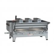 Pizzagrill Manual Giratório Inox Com Manivela e Pedra Refratária + Cavalete Luxo 1000X500 Itajobi Fogões