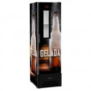 Refrigerador Geladeira Cervejeira Expositora VN28FP Optima 394L Adesivo Cerveja Gelada R290 Com Visor de Vidro Slim - Metalfrio