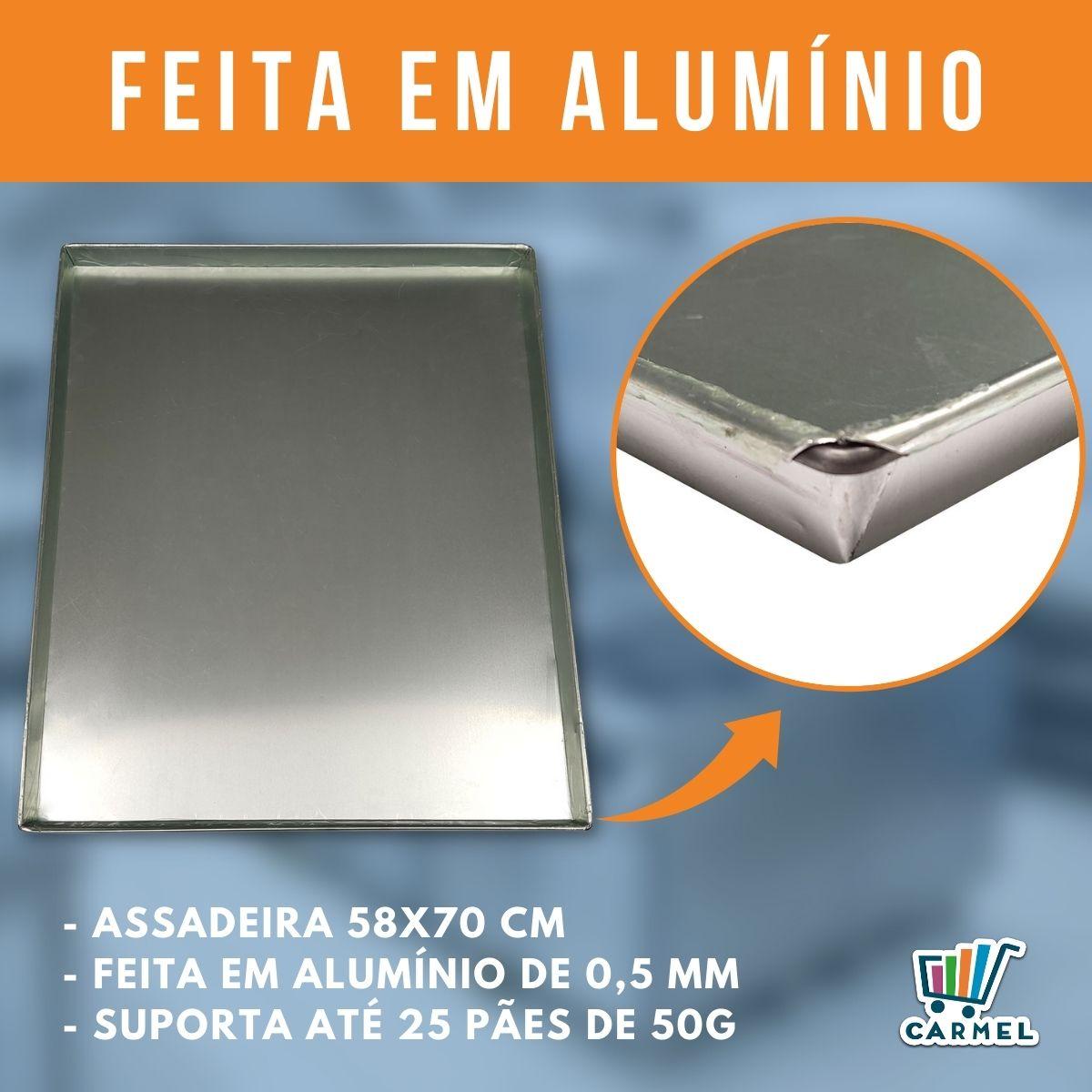 Assadeiras Forma Pão Doce Alumínio Liso 58x70 Kit 5 Unidade - Innal  - Carmel Equipamentos