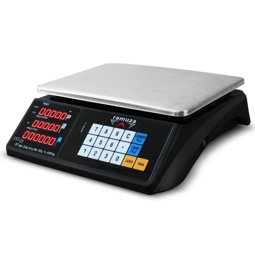 Balança Digital DCL 6/15/35Kg x 2/5/10G Computadora Led Touch Preta - Ramuza  - Carmel Equipamentos
