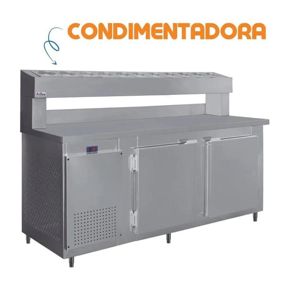 Balcão Condimentador Comercial Para Pizzaria Com Torre Refrigerada RF-037 8 Cubas de 1/6 Inox Frilux  - Carmel Equipamentos