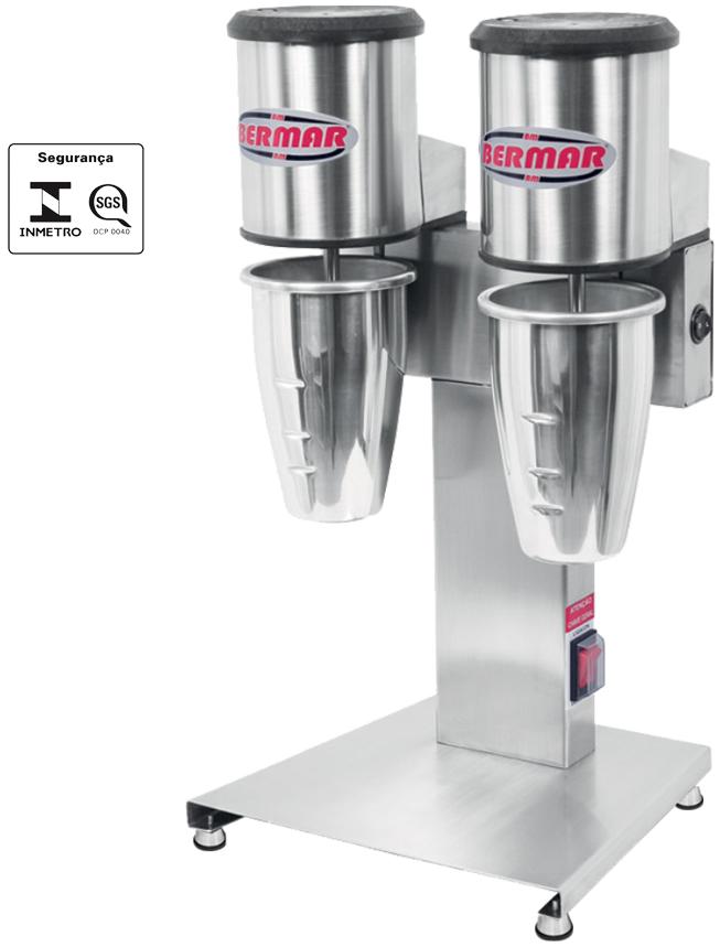 Batedor de Milk Shake Duplo em Inox Bermar BM 84 NR BM 85 NR  - Carmel Equipamentos