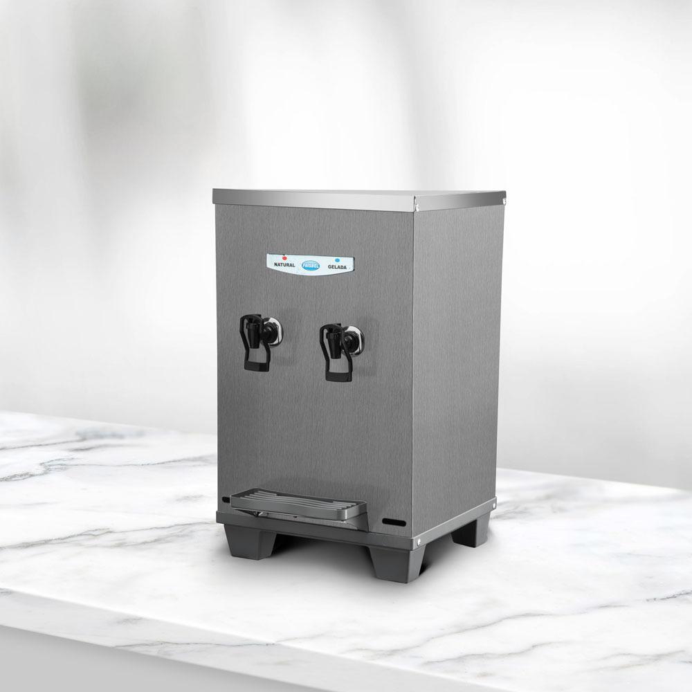Bebedouro Resfriador De Água Industrial 10 Litros Bancada Inox Escovado 2 Torneiras - Frisbel  - Carmel Equipamentos