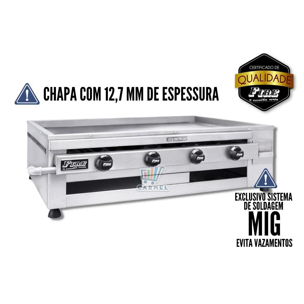 Chapa a Gás Especialista 100x70 4 Queimadores Churrasqueira CGE/100 - Fire  - Carmel Equipamentos