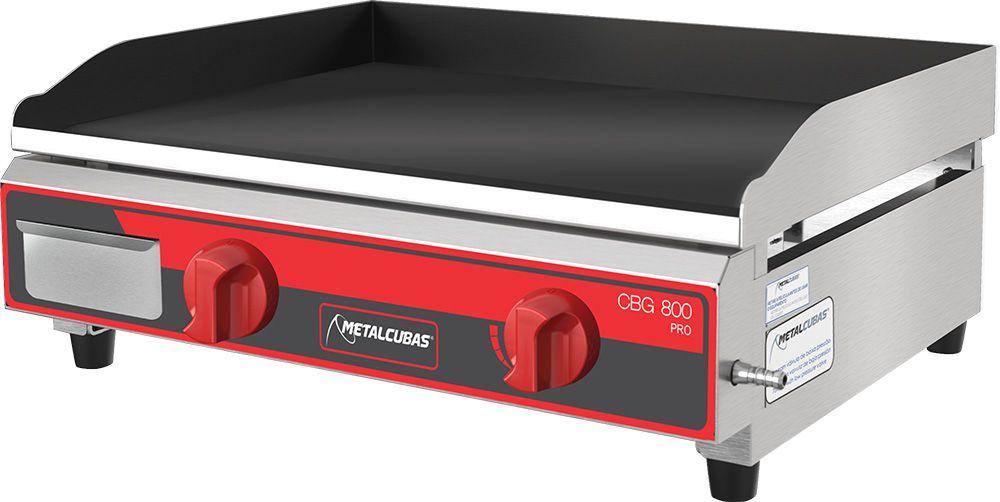 Chapa a Gás Metalcubas c/ 3 Queimadores 800X52 Chapa 9,52 MM - CBG 800 Pro  - Carmel Equipamentos