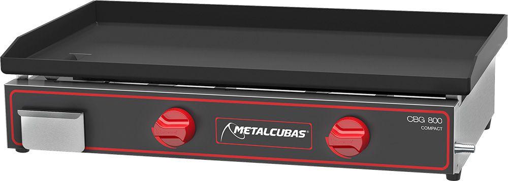 Chapa Bifeteira À Gás 80X45 2 Queimadores Inox CBG 800 C Metalcubas  - Carmel Equipamentos