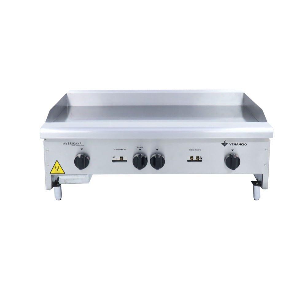 Chapa Para Lanches Linha Americana a Gás Inox CG90 90 Cm 3 Queimadores 8mm Baixa Pressão - Venâncio