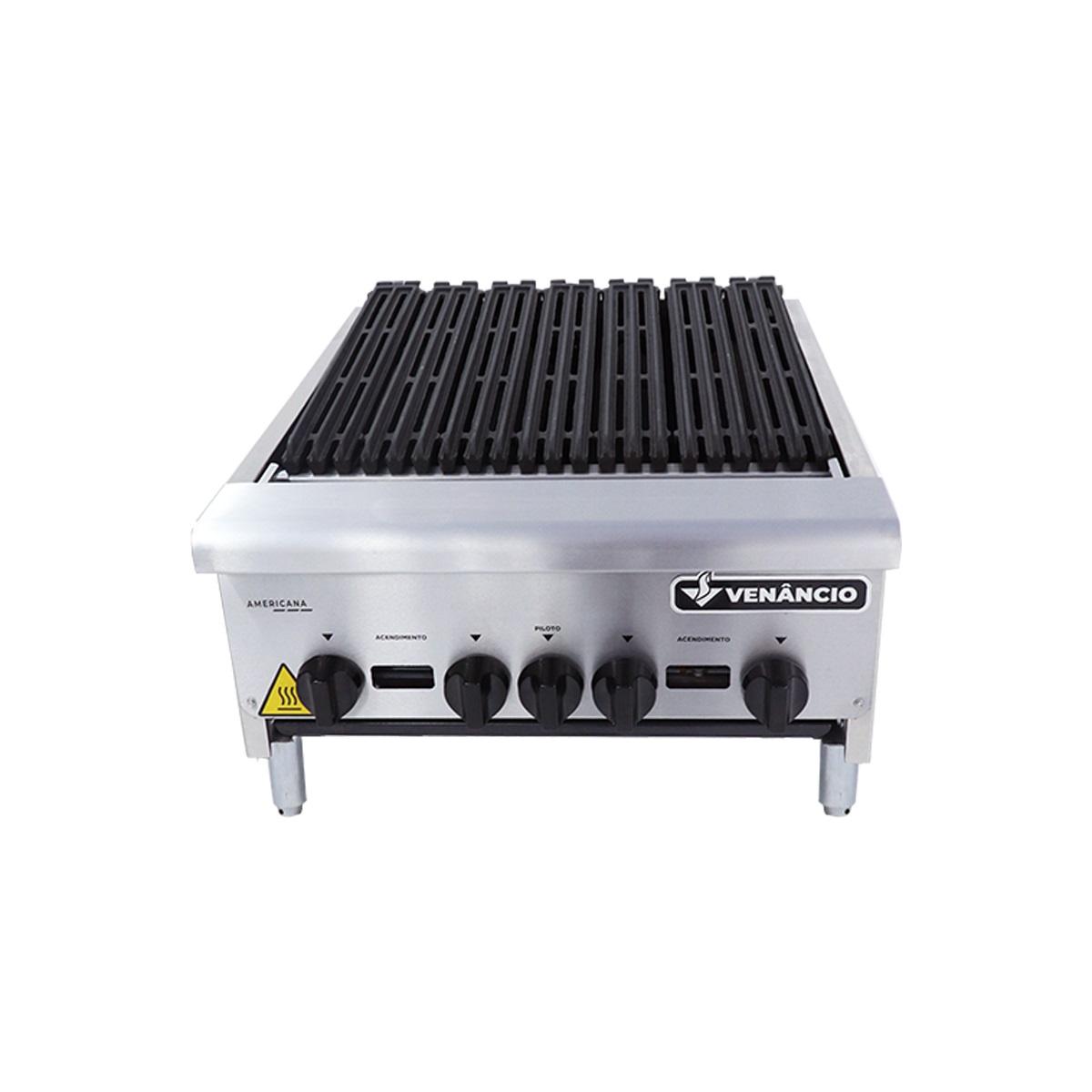 Char Broiler Chapa Lanche Grill Americana 60 Cm a Gás Inox CGG60 4 Queimadores - Venâncio  - Carmel Equipamentos