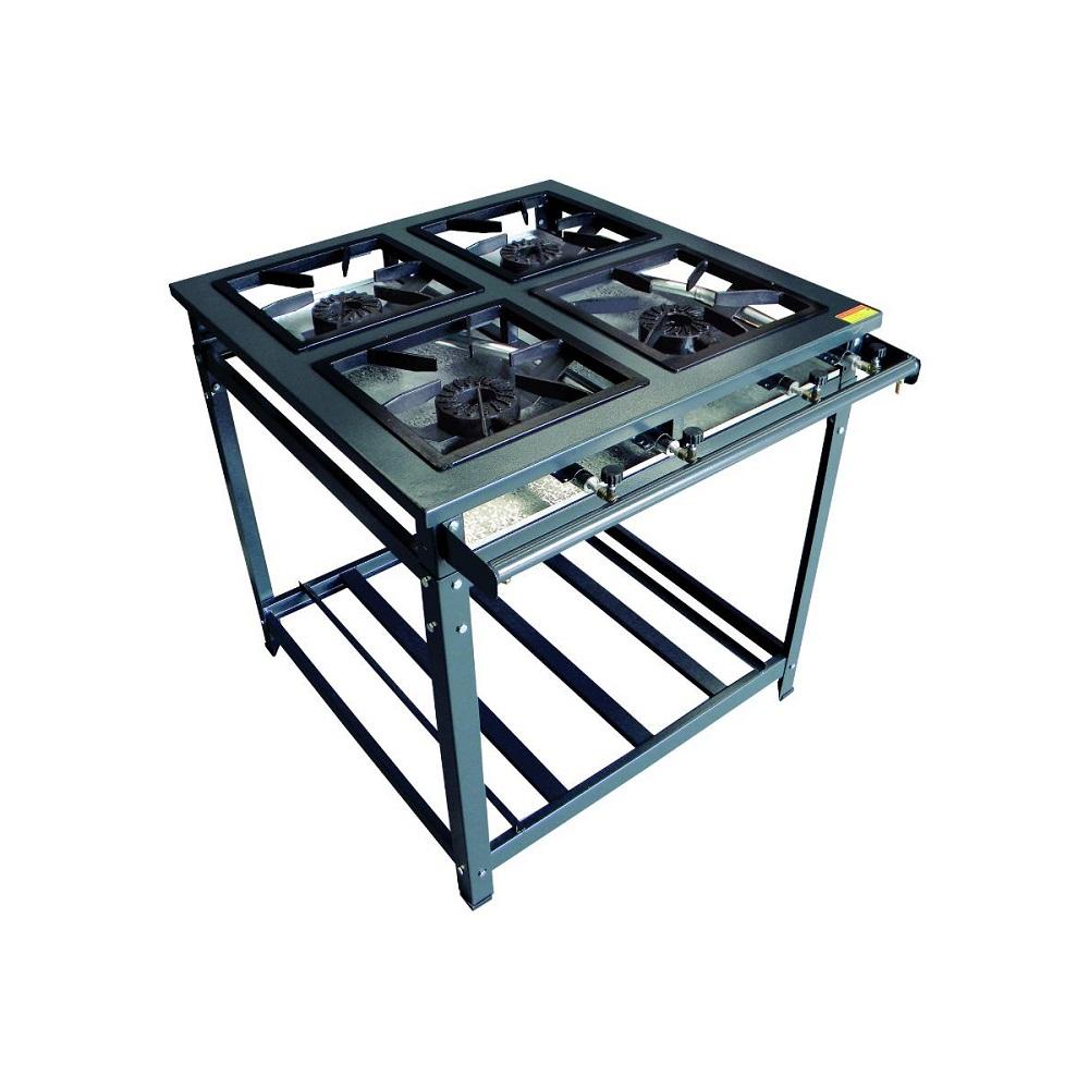 Conjunto Fogão Standard Alta Pressão 4 Queimadores Simples Com Forno 70 Litros Kit Alta Pressão - Innal  - Carmel Equipamentos