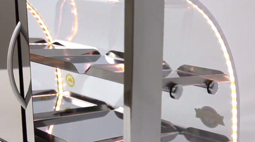 Estufa p/ Salgados Curva c/ Iluminação LED Marchesoni 2 Bandejas Linha Prata - EF.5.021-022  - Carmel Equipamentos