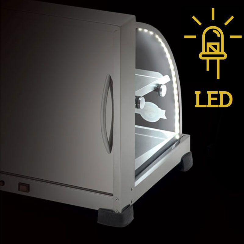 Estufa p/ Salgados Dupla c/ Iluminação LED Marchesoni 8 Bandejas Linha Prata - EF.5.281-282  - Carmel Equipamentos