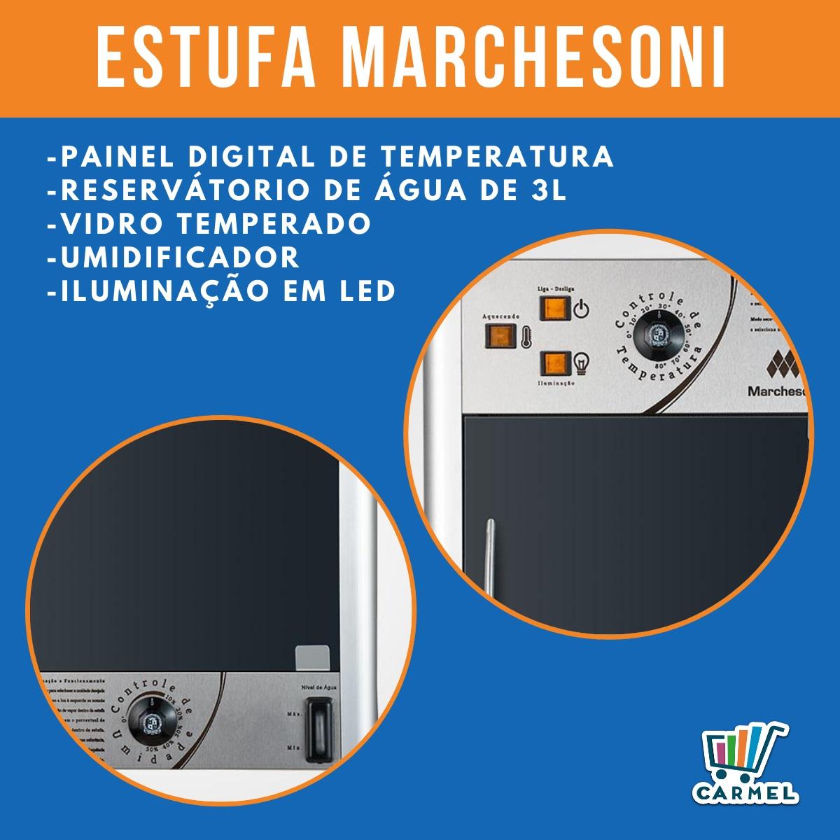 Estufa p/ Salgados Vertical c/ Iluminação LED Marchesoni 6 Bandejas Linha Premium - EF6261/262  - Carmel Equipamentos