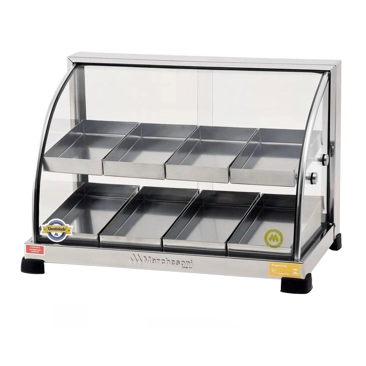 Estufa Para Salgados Dupla 8 Bandejas Aquecedora de Alimentos Porta de Vidro Linha Prata - EF.5.281-282 - Marchesoni   - Carmel Equipamentos