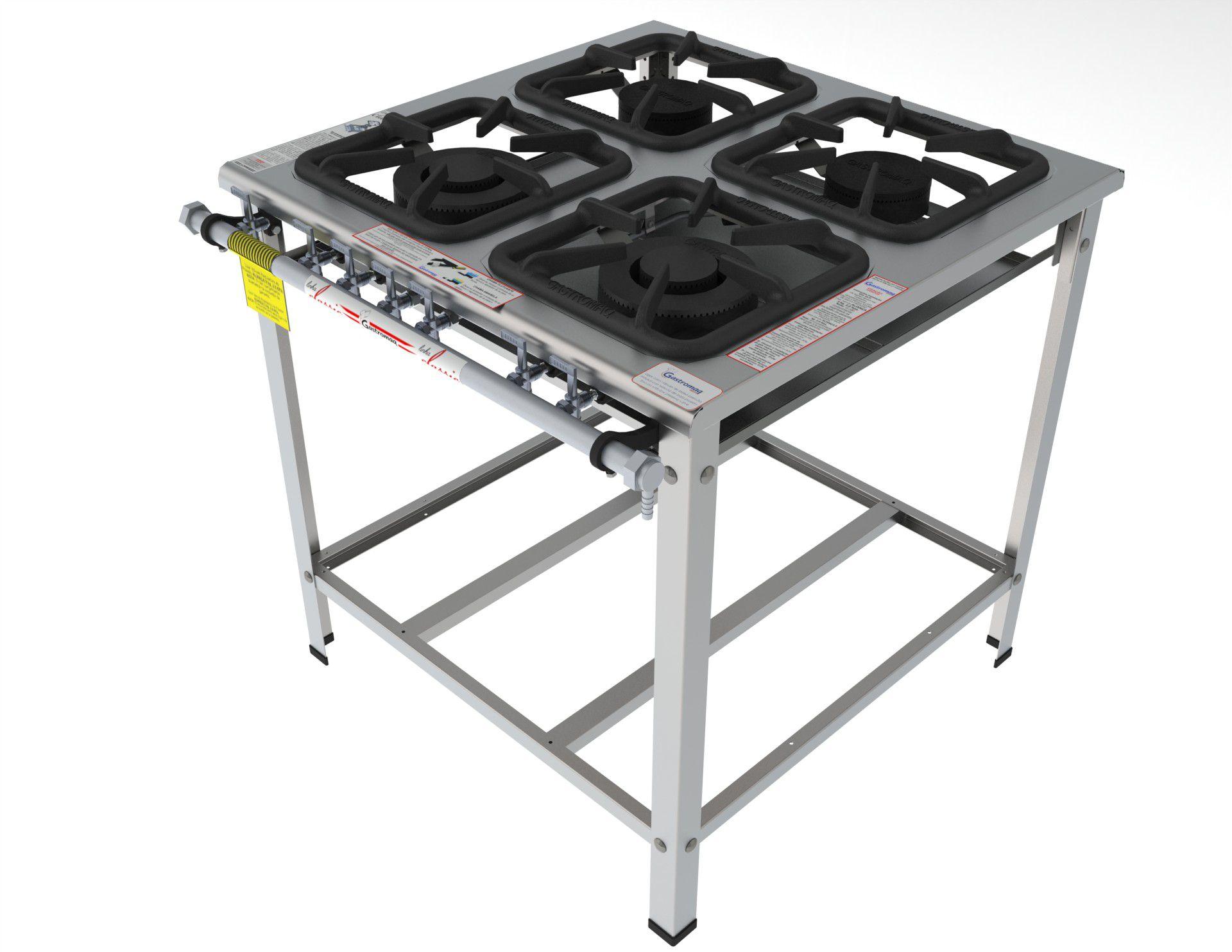 Fogão Industrial a Gás 4 Bocas Aço Inox 430 Gastromaq - FGI 34 EM  - Carmel Equipamentos