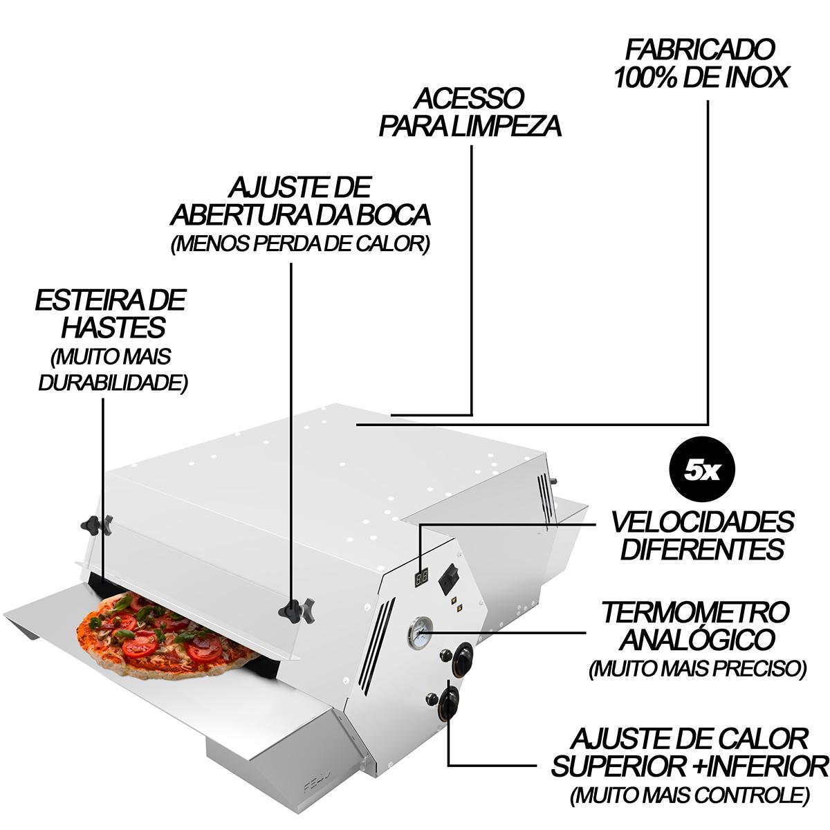 Forno Esteira Industrial Assador a Gás Para Pizzas de 40cm  5 Velocidades 220V - Saro  - Carmel Equipamentos