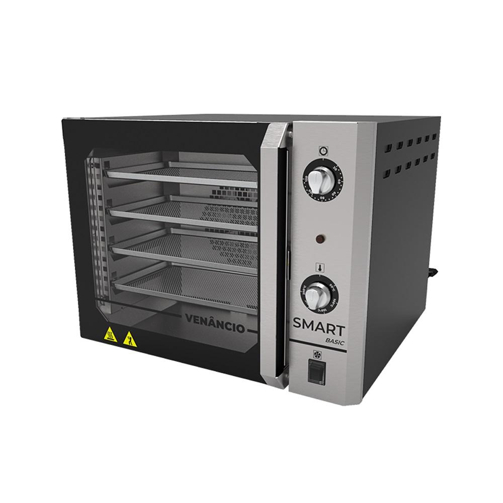 Forno Turbo Convector Elétrico Porta de Vidro 55 Litros Smart Basic Com 4 Esteiras Painel Inox - Venâncio  - Carmel Equipamentos