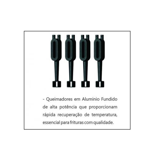 Fritadeira Industrial a Gás 45 Litros Metalcubas FOG2C  - Carmel Equipamentos