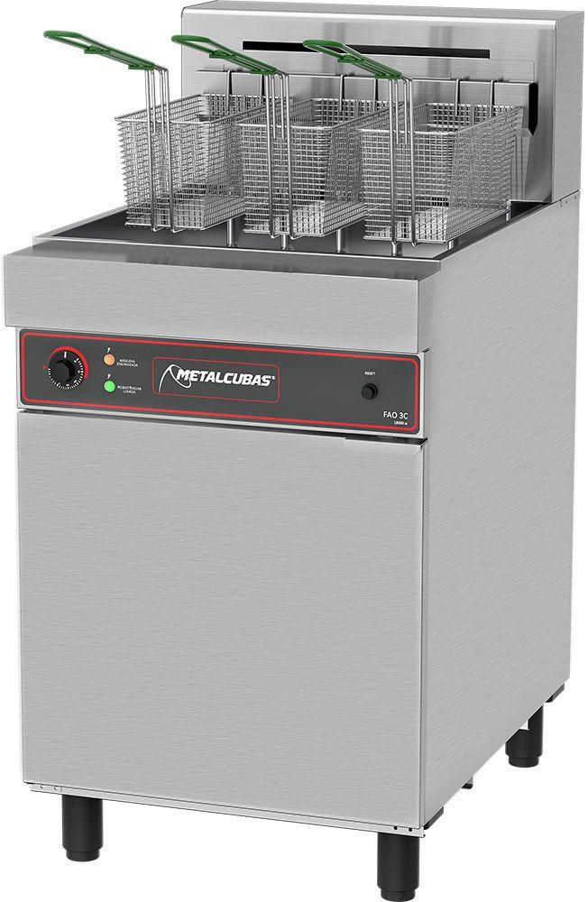 Fritadeira Industrial Elétrica Água e Óleo Metalcubas 18000W - FAO 3 C  - Carmel Equipamentos