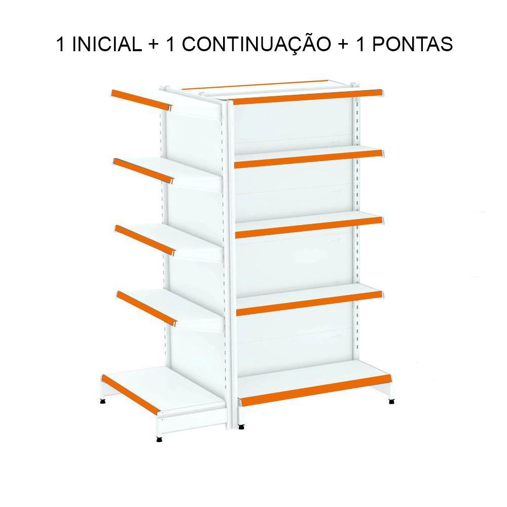 Gôndola Central 2 Metros 1 Ponta 1 Inicial e 1 Continuação Amapá Laranja  - Carmel Equipamentos