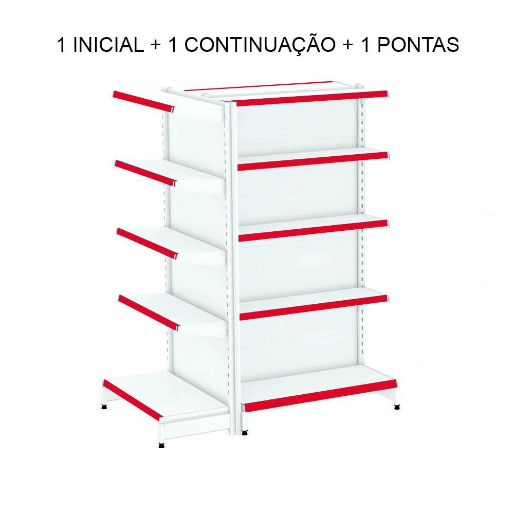 Gôndola Central 2 Metros 1 Ponta 1 Inicial e 1 Continuação Amapá Vermelho  - Carmel Equipamentos