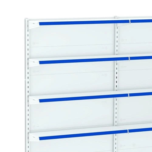 Gôndola Lateral Parede 1 Continuação e Porta Etiqueta Azul - Amapá  - Carmel Equipamentos