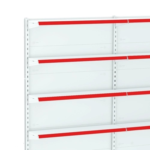 Gôndola Lateral Parede 1 Continuação e Porta Etiqueta Vermelho - Amapá  - Carmel Equipamentos