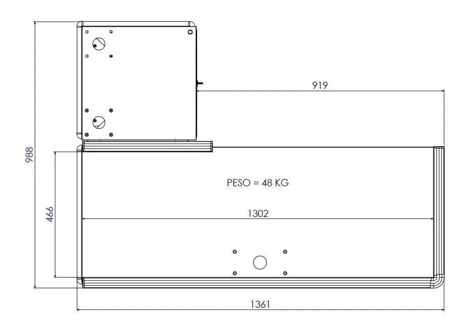 Kit 2 Checkout Leve De 1,30M Preto Perfil Cinza Mesa Reta Com Kit Innal  - Carmel Equipamentos