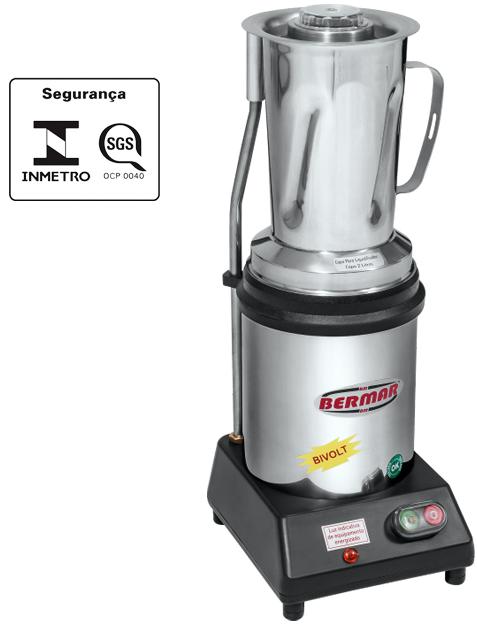 Liquidificador Triturador Industrial 2 Litros Motor 1/2 Hp com Sensor na Tampa Bermar - BM30NR S  - Carmel Equipamentos
