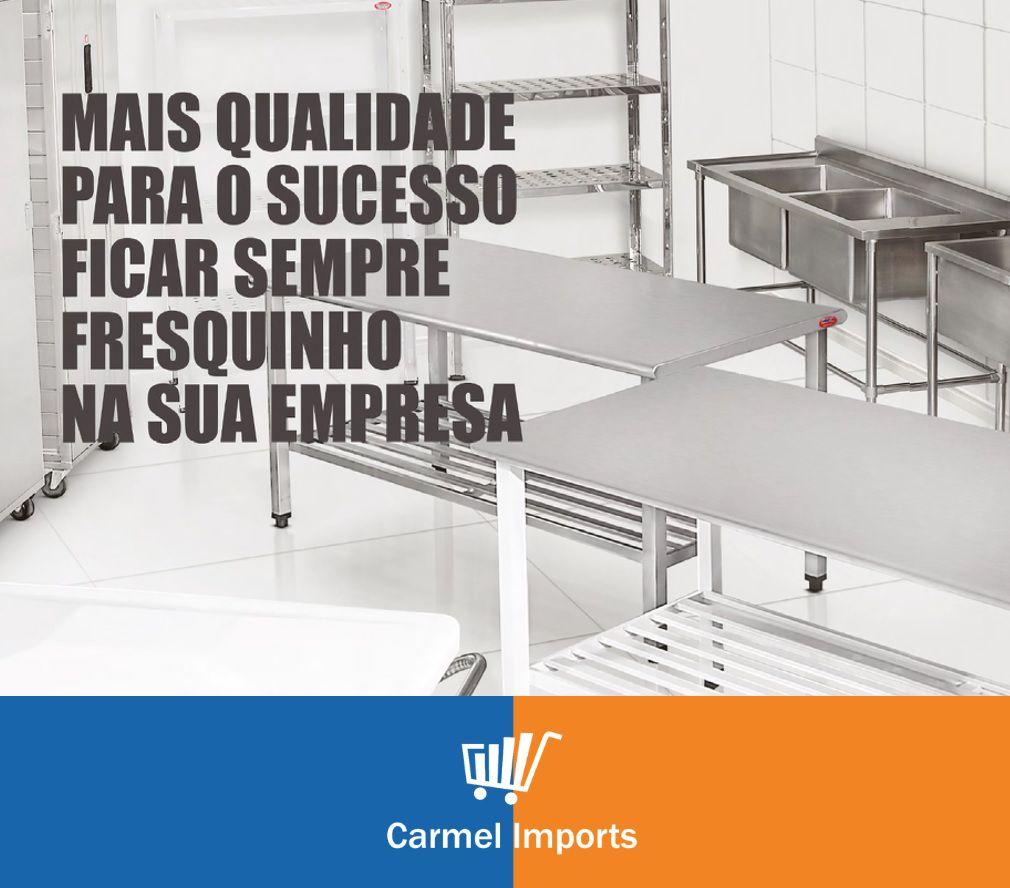 Mesa Central 1500X700 Estrutura Epoxi Com Tampo Inox 430 - Itajobi Fogões  - Carmel Equipamentos