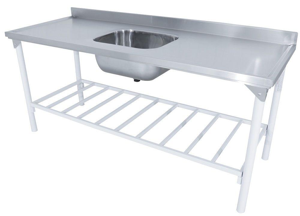 Mesa com Pia 50x40x25 em Inox 112x70 Com Prateleira Grade - Innal  - Carmel Equipamentos