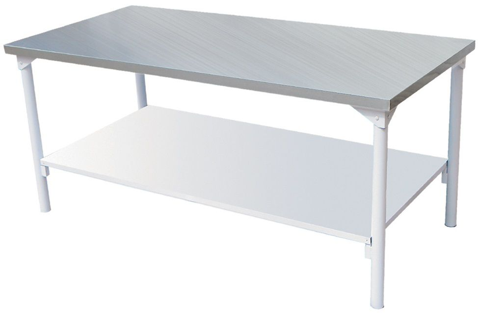 Mesa em Inox Innal 140x70 com Prateleira lisa  - Carmel Equipamentos