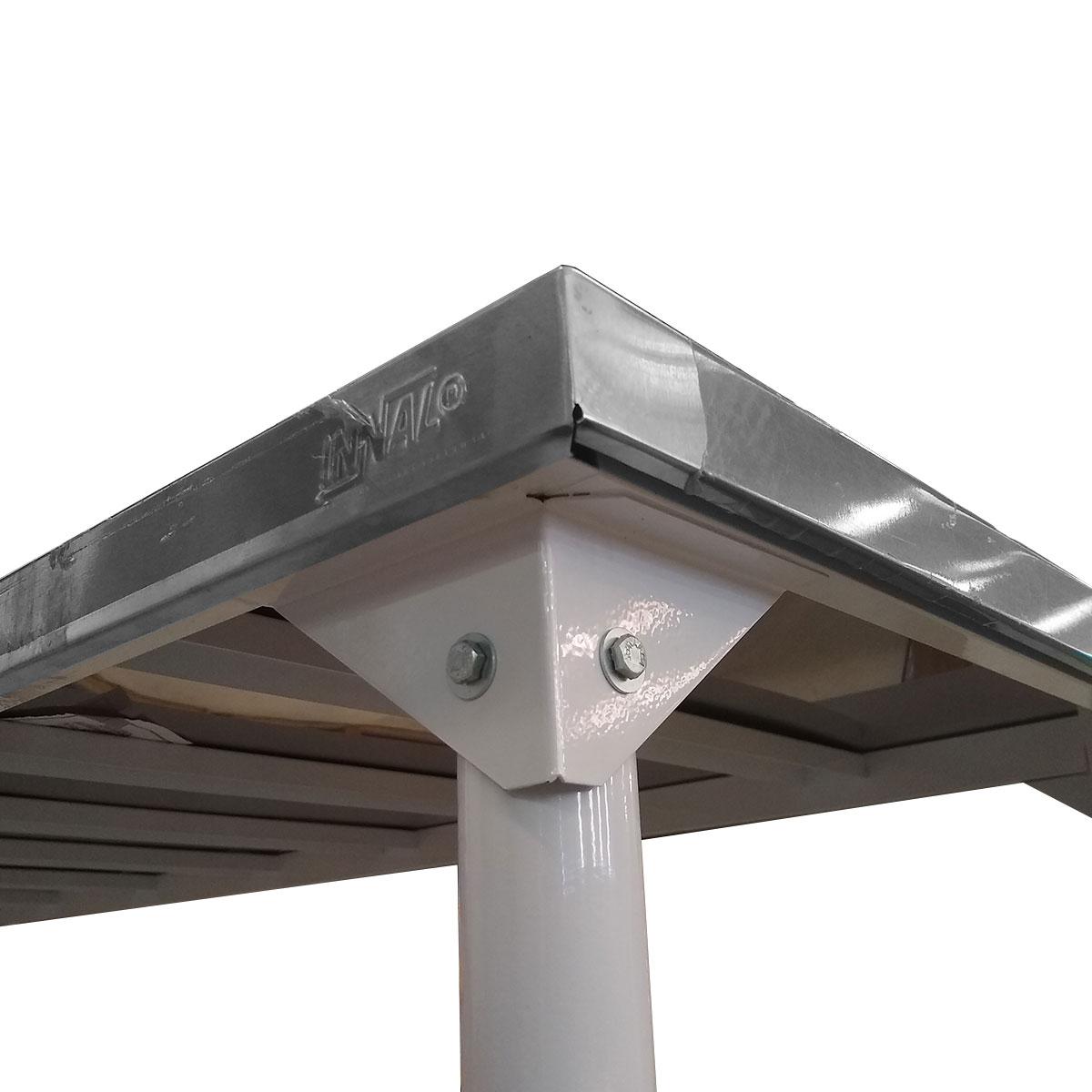 Mesa em Inox Innal 190x90 com Prateleira Grade  - Carmel Equipamentos