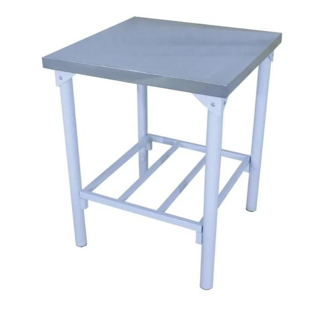 Mesa em Inox Innal 70x70 com Prateleira Grade  - Carmel Equipamentos