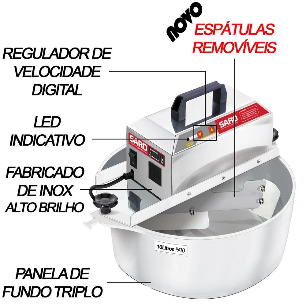 Panela de Massas Automática Misturador Elétrico de Doces PA10 Bivolt 10 Litros - Saro  - Carmel Equipamentos