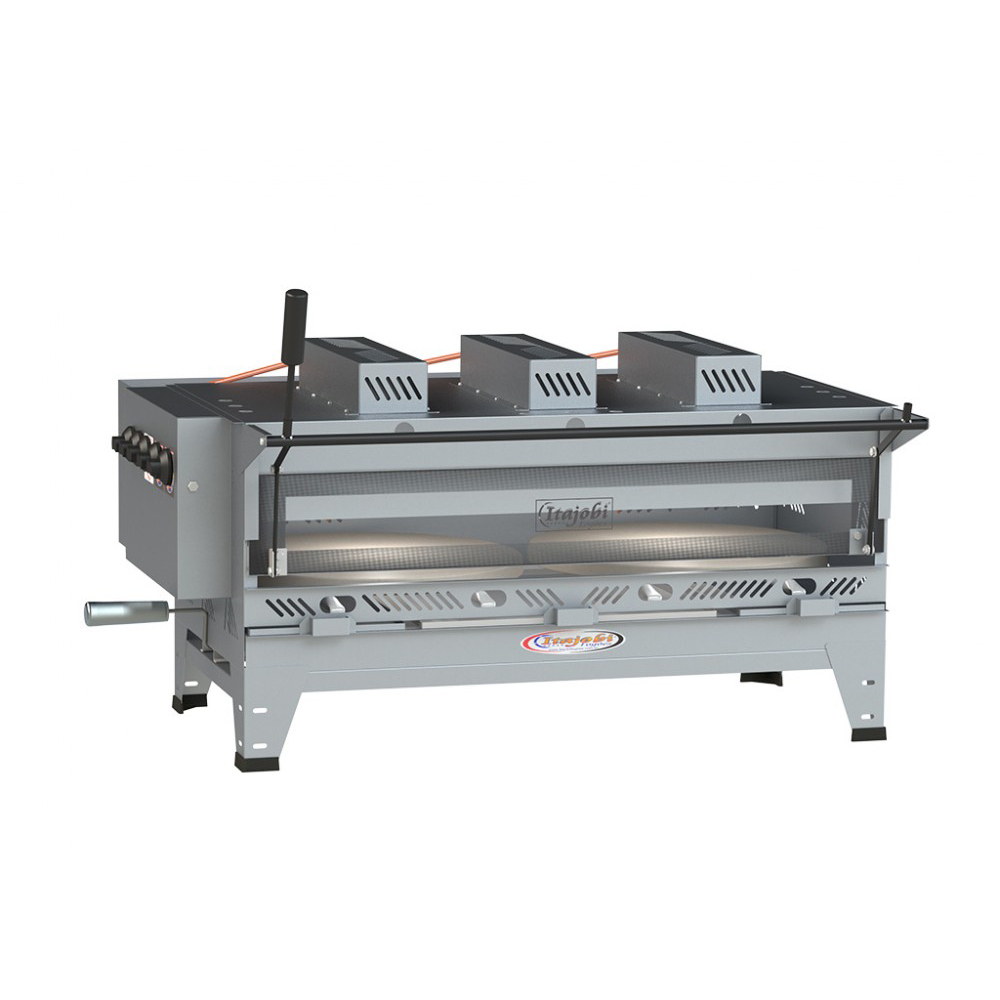 Pizzagrill Manual Giratório Inox Com Manivela e Pedra Refratária + Cavalete Luxo 1000X500 Itajobi Fogões  - Carmel Equipamentos