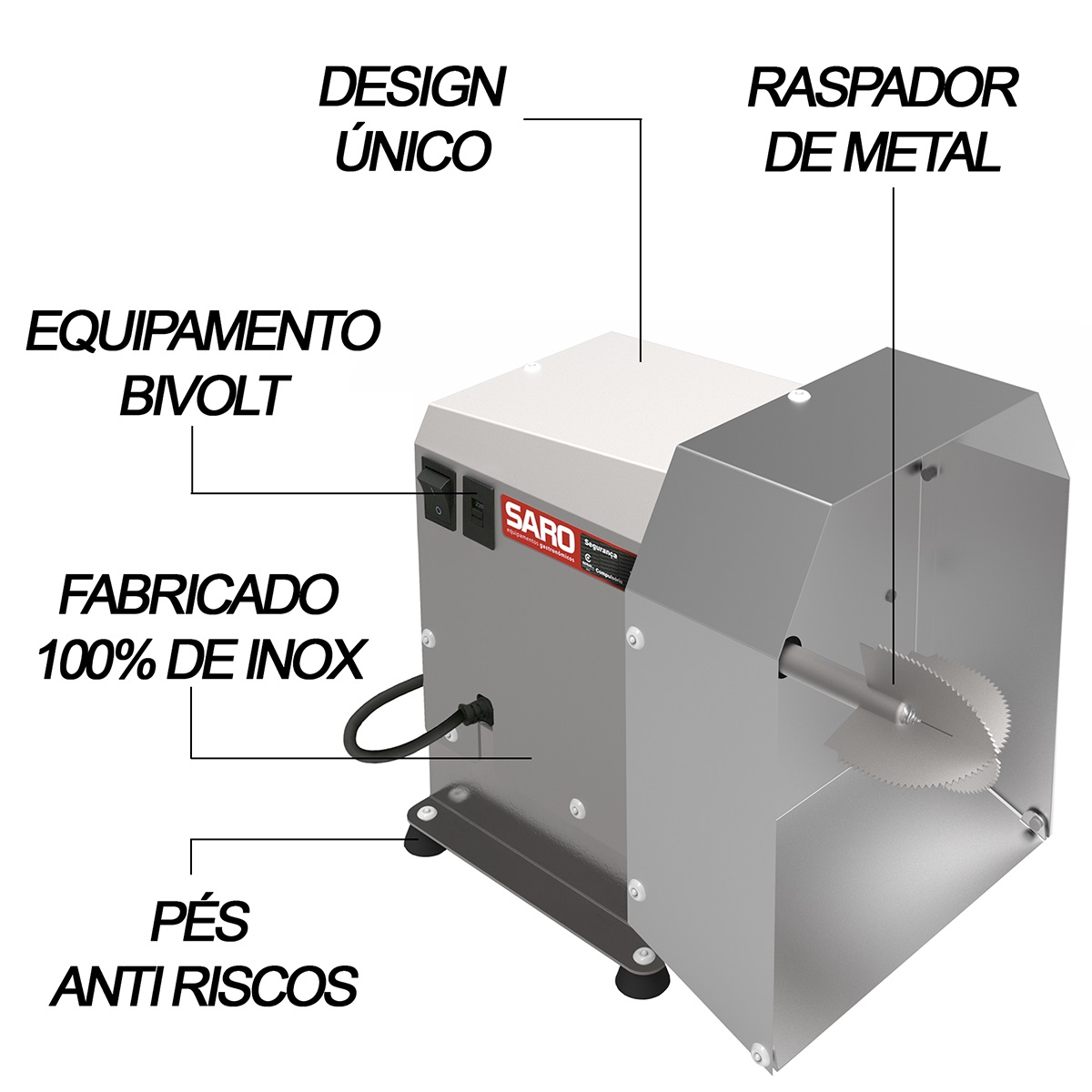 Ralador de Coco Raspador Elétrico Inox Profissional Bivolt - Saro  - Carmel Equipamentos