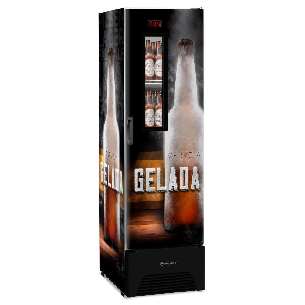 Refrigerador Geladeira Cervejeira Expositora VN28FP Optima 324L Visa Cooler Adesivo Cerveja Gelada R290 Com Visor de Vidro Slim - Metalfrio  - Carmel Equipamentos