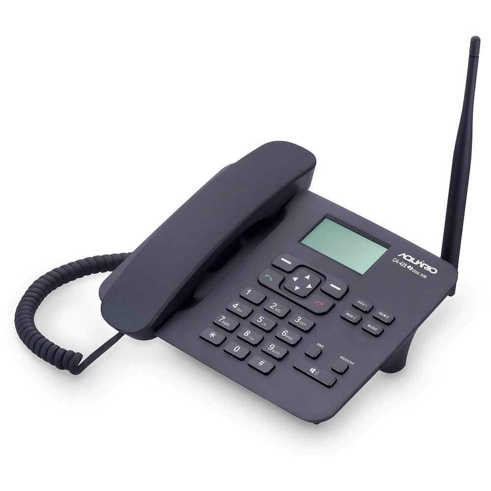 Telefone Celular Rural De Mesa 2G Plus Preto CA-42S Dual Chip Desbloqueado - Aquário  - Carmel Equipamentos