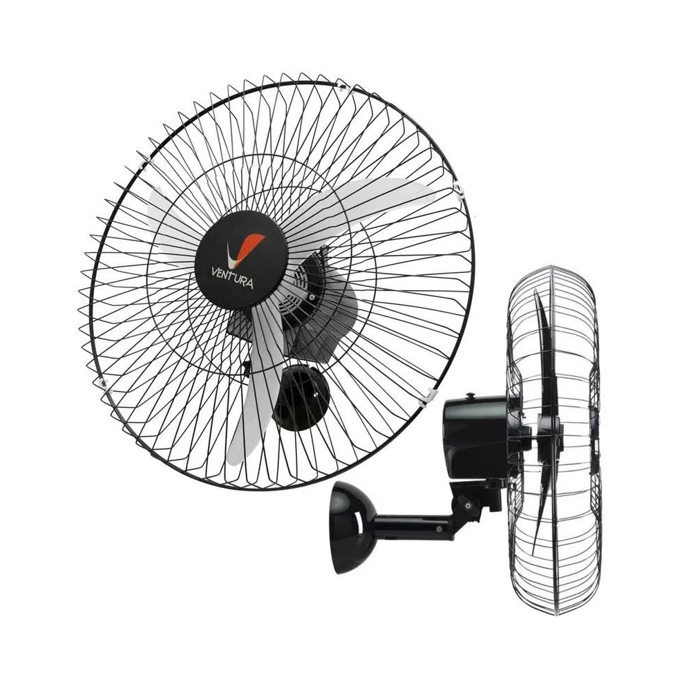 Ventilador Oscilante de Parede Ventura Preto 3 Pás 60 Cm Bivolt - Venti Delta  - Carmel Equipamentos