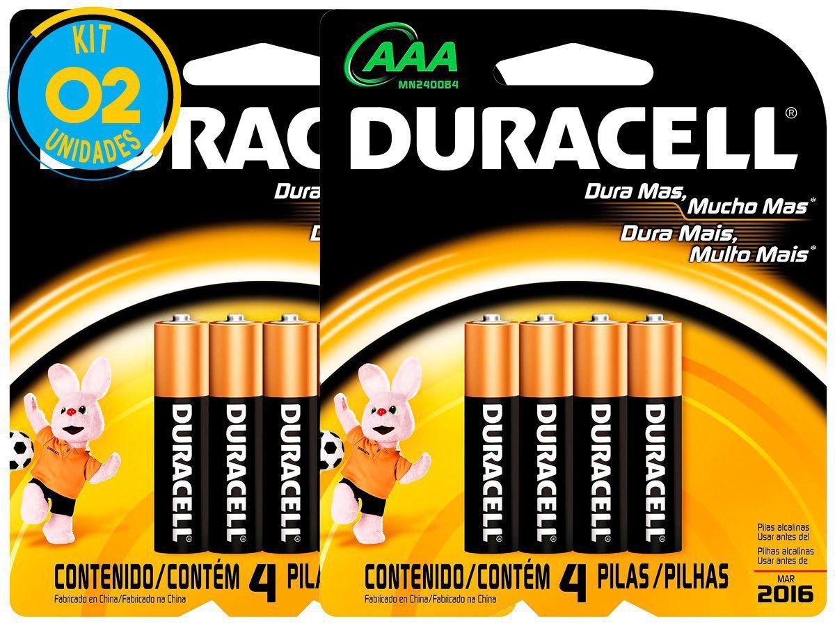 Kit de pilhas DURACELL AAA Palito 1,5V 8 Cartelas  - 100% Original