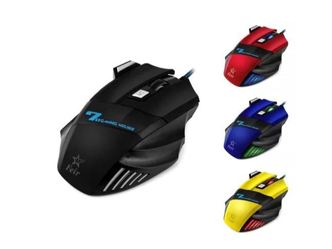 Mouse Gamer C Fio Usb 7d Botao Duplo Clique Amarelo Fr-404