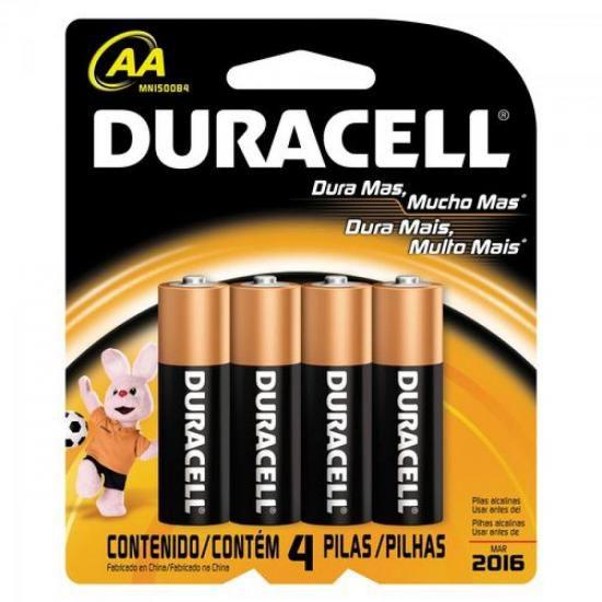 Pilha Alcalina AA MN1500 Duracell 2 Cartelas - 100% Original