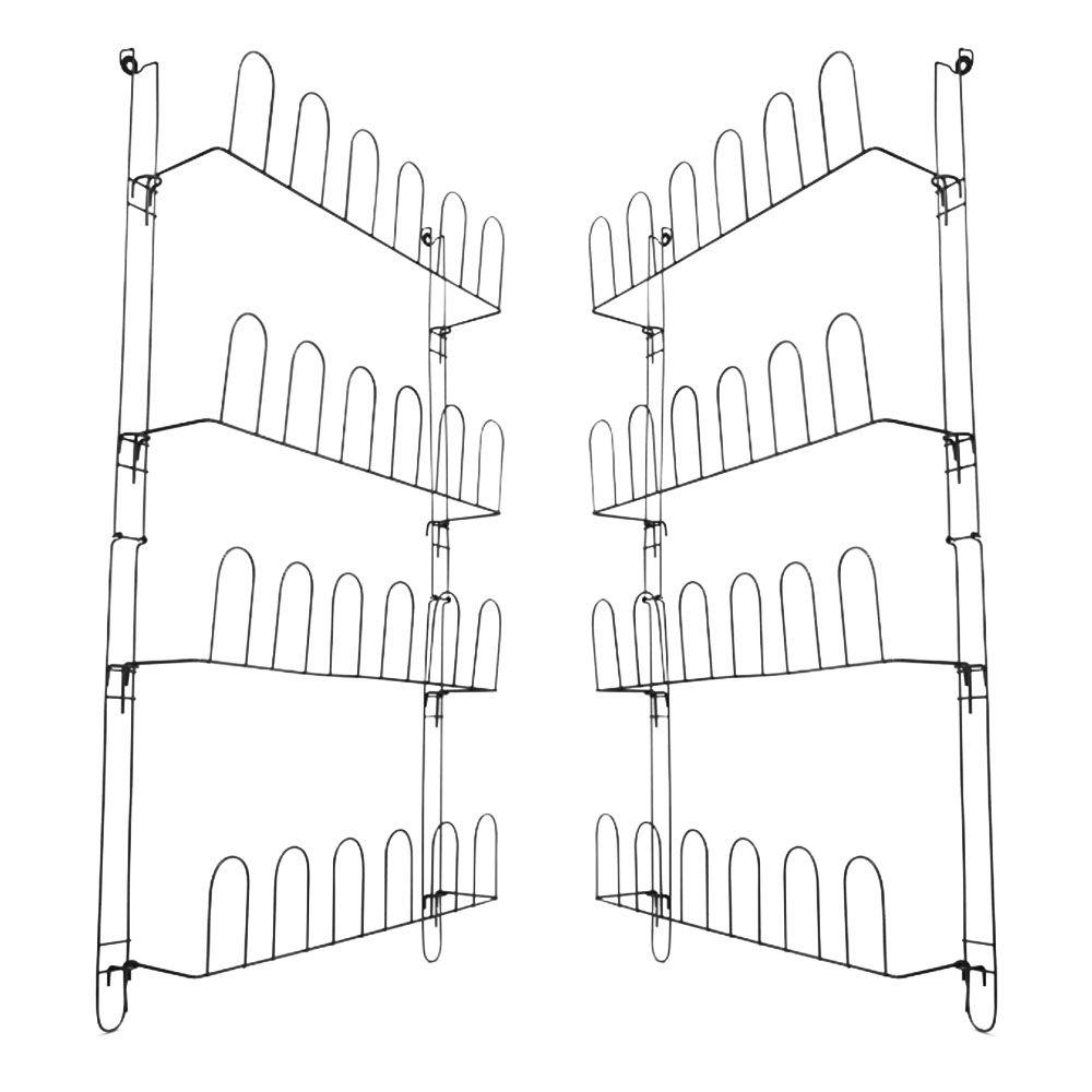 Kit 02 Sapateira de Porta ou Parede em Aço Aramado Preto