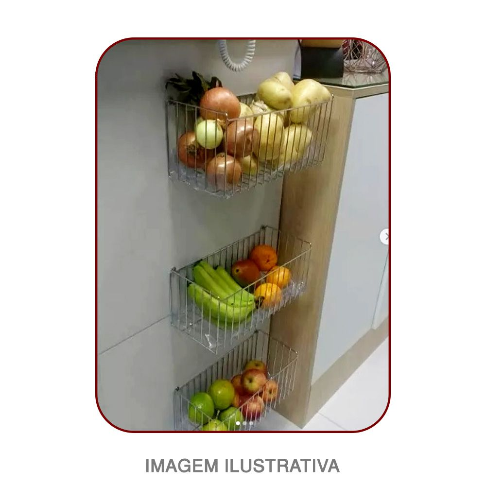 kit 03 Cestos Aramado De Parede Lavanderia Cozinha Quarto N4 Cromado