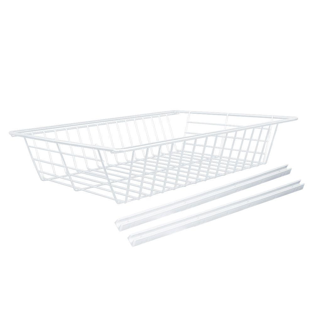 Kit 3 Cestos Fruteiras Aramado Branco em Aço com Corrediças M4