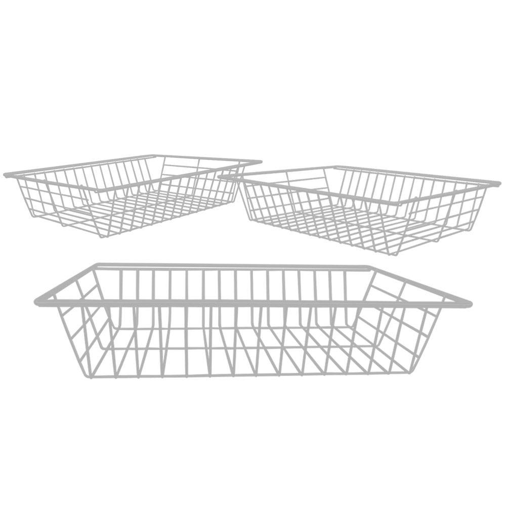 Kit 3 Cestos Fruteiras Aramado Branco em  M4