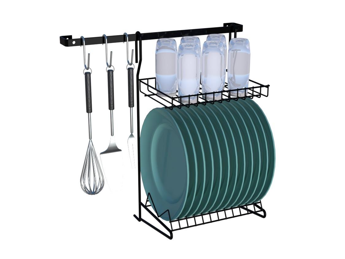 Kit Cozinha Suspensa 01 Organizador Escorredor 6 Peças Preto