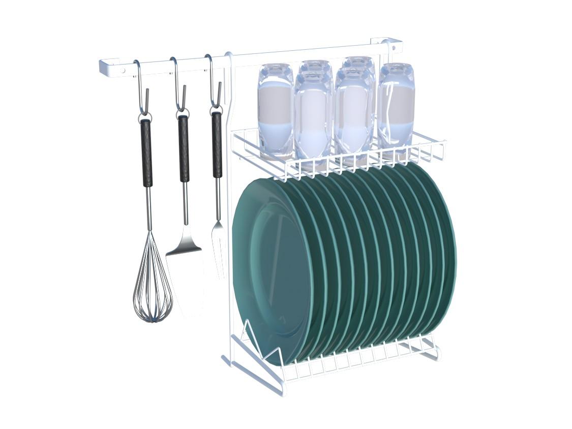 Kit Cozinha Suspensa 01 Organizador Escorredor AÇO Branco