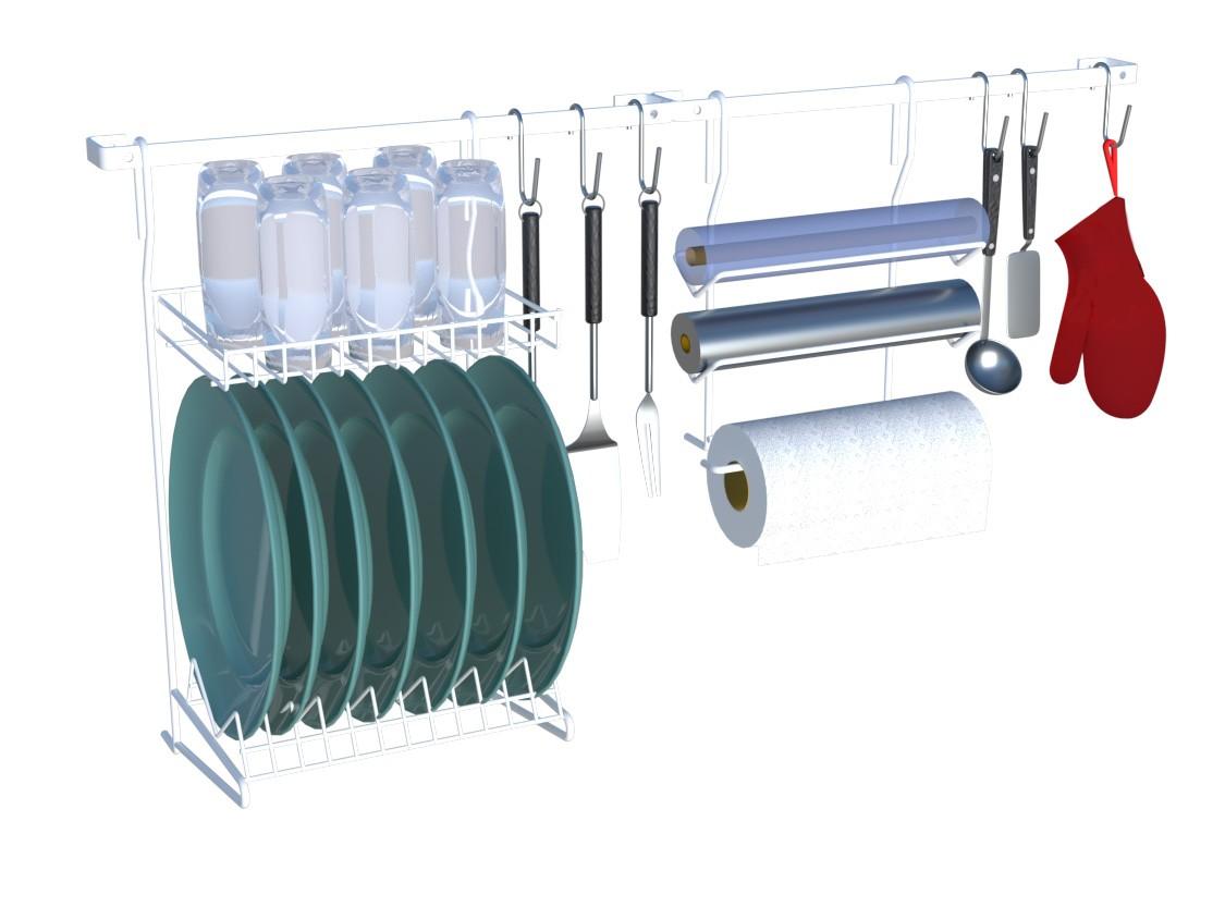 Kit Cozinha Suspensa 03 Organizador Escorredor AÇO Branco